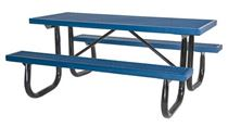 6 ft Rectangular Plastisol Picnic Table Welded Galvanized Steel