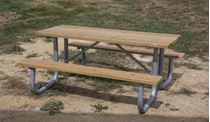 6 ft Rectangular Wooden Picnic Table Galvanized Steel
