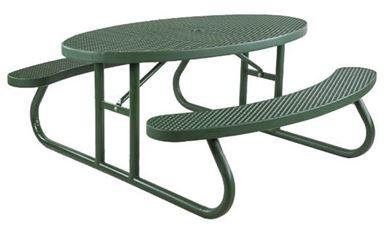 6 ft Oval Plastisol Picnic Table Galvanized Steel Frame
