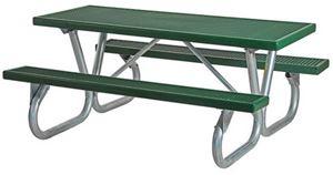 Picnic Table 8 ft Rectangular Plastisol Bolted Galvanized Frame