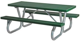Picnic Table 8 ft Rectangular Plastisol Bolted Galvanized Frame