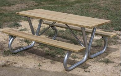 8 ft Rectangular Wooden Picnic Table Bolted Galvanized Frame