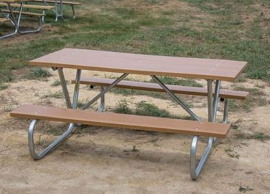 6 ft Rectangular Recycled Picnic Table with Bolted Galvanized Tube