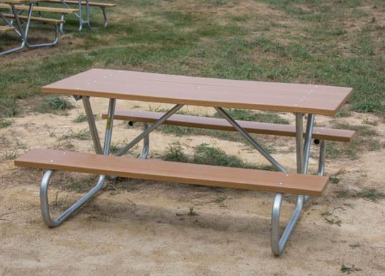 8 Foot Rectangular Recycled Picnic Table With Bolted Galvanized Frame