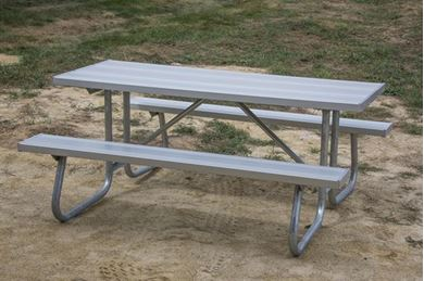 8 foot Rectangular Aluminum Picnic Table Welded Galvanized Frames