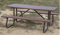 8 ft. Rectangular Recycled Plastic Picnic Table Welded Galvanized Frames