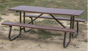 Ft Rectangular Recycled Plastic Picnic Table Welded Galvanized - Picnic table supplier