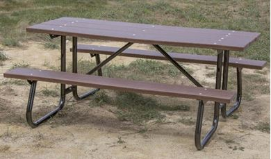 8 ft. Rectangular Recycled Plastic Picnic Table Welded Galvanized Frames