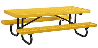 8 ft Childrens Rectangular Plastisol Picnic Table Galvanized Steel Frame