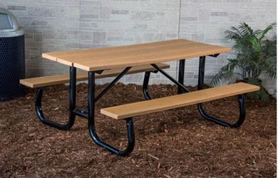 8 ft Rectangular Recycled Plastic Picnic Table Welded Frame