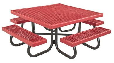 "48"" Square Plastisol Picnic Table with Galvanized 1 5/8"" Steel Frame, 239 lbs."