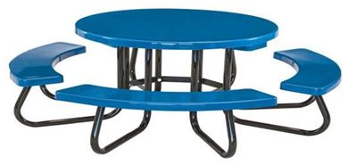 "48"" Round Fiberglass Picnic Table with Galvanized 1 5/8"" Steel Frame"