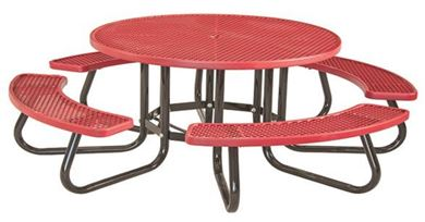 "48"" Round Plastisol Picnic Table with Galvanized Steel Frame"