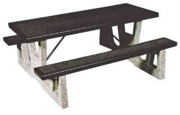 6 Ft Rectangular Picnic Table With Thermoplastic Top And Concrete Legs