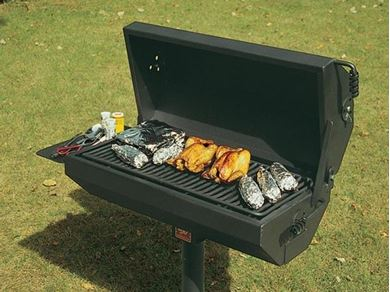 320 Square Inch Covered Barbecue Grill with Shelf Steel In-Ground Mount