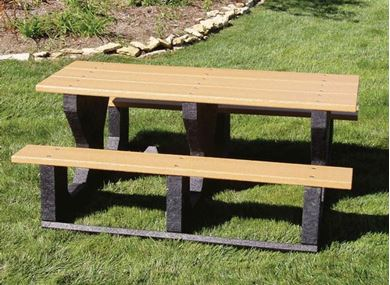 Picnic Tables 6 ft. Rectangular Recycled Plastic  Picnic Table, 'Walk Thru' Style With Three Legs, 475 lbs.
