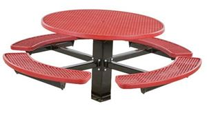 """48"""" Round Fiberglass Picnic Table with 6"""" Single Post Frame"""