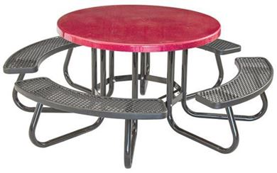 Round Picnic Table with Fiberglass Top and Plastisol Seats