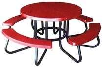 "Picnic Tables 48"" Round Fiberglass Picnic Tables with 4 attached seats"