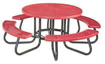 Round Plastisol Picnic Table with 4 Attached Seats