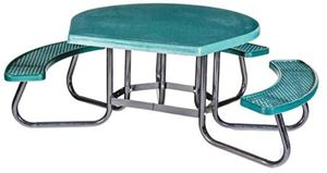 Round ADA Wheelchair Accessible Picnic Table with Fiberglass Top and Plastisol Seats
