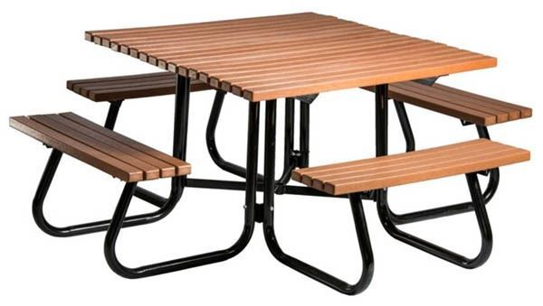 Ft Square Recycled Plastic Picnic Table With Attached Benches - Square picnic table with benches