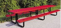 12 ft. Rectangular Thermoplastic Steel Picnic Table, Perforated Metal
