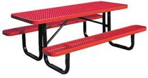 "6 ft. Rectangular Thermoplastic Steel Picnic Table, Perforated Metal with Powder Coated 2 3/8"" Steel Tube"