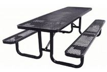 "8 ft. Rectangular Thermoplastic Steel Picnic Table, Perforated Metal with Powder Coated 2 3/8"" Steel Tube"