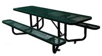 ADA Picnic Table, Expanded Metal Thermoplastic Steel, 8 foot Rectangular, Surface Mount / Portable
