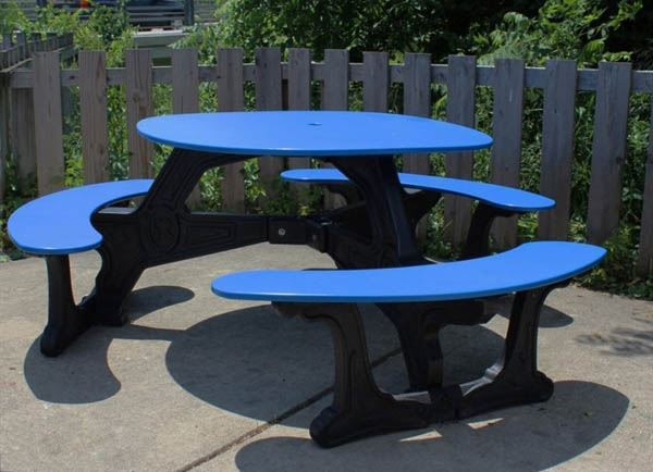 "46"" round recycled plastic picnic table - a picnic table store"