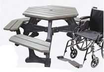 Wheelchair Accessible ADA Hexagonal Picnic Table