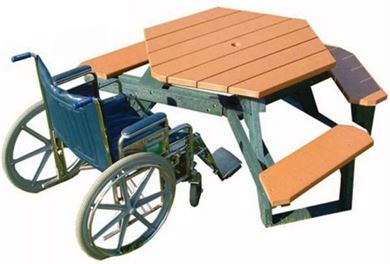 "46"" Wheelchair Accessible ADA Hexagonal Picnic Table, 170 lbs."