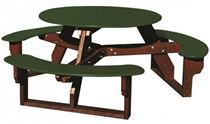 "46"" Round Recycled Plastic Picnic Table with Easy Access"