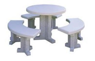 Round Concrete Picnic Table with Pedestal Concrete Frame Seats 6 adults
