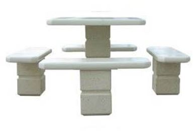 Square Concrete Picnic Table with Pedestal Frame, 1530 lbs.