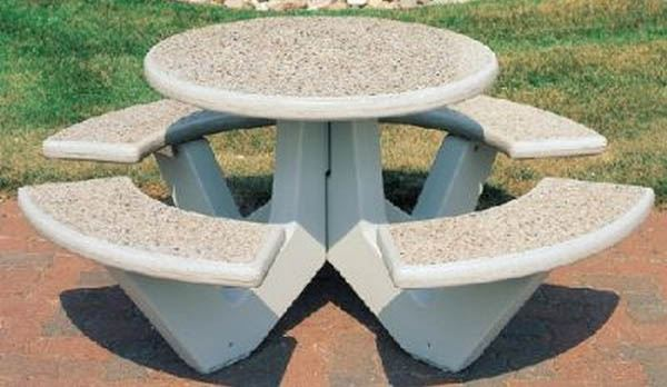 """38"""" concrete round picnic table with bolted concrete frame - a"""