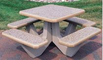 "36"" Concrete Square Picnic Table with Bolted Concrete Frame"