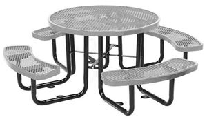 Round picnic table plastic coated expanded metal with for Leisure craft picnic tables