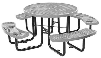 Round Picnic Table Plastic Coated Expanded Metal