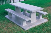 7 ft. Precast Rectangular Picnic Table with Pad, Single Piece Rectangular