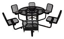 """46"""" Round Thermoplastic Picnic Table with 4 Backed Seats Surface Mount"""