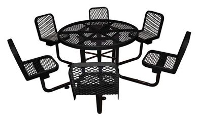 "46"" Round Thermoplastic Picnic Table with 4 Backed Seats Surface Mount"