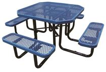 "46"" Octagonal Expanded Metal Thermoplastic Picnic Table, Portable or Surface Mount"