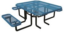 "46"" x 58"" Octagonal ADA Expanded Metal Thermoplastic Picnic Table, Portable or Surface Mount"