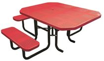 "46"" x 58"" Octagonal ADA Perforated Thermoplastic Picnic Table, Portable or Surface Mount"