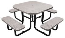 "46"" Octagonal Perforated Thermoplastic Picnic Table, Portable or Surface Mount"