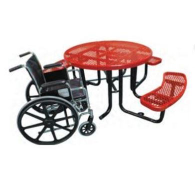 "46"" Round Expanded Metal ADA Picnic Table, Thermoplastic Steel, Wheelchair Accessible"