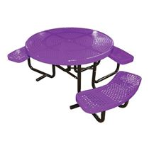 "46"" Round Perforated ADA Picnic Table, Thermoplastic Steel, Wheelchair Accessible"