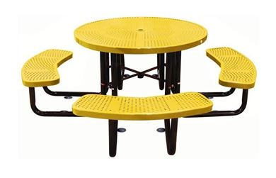 "46"" Round Thermoplastic Perforated Steel Picnic Table, Portable or Surface Mount"
